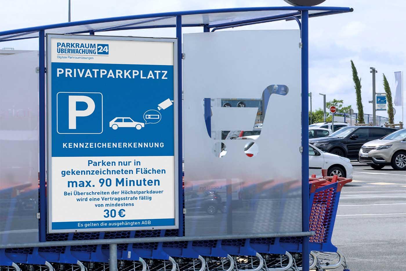 Privatparkplatz mit Kennzeichenerkennung von Parkraumüberwachung24